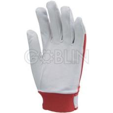 Euro Protection Sofõrkesztyû, puha színsertés, piros vászon kézhát, elasztikus, állítható csuklórész
