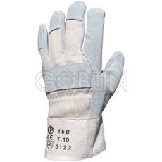 Euro Protection Védõkesztyû extra vastag szürke marhahasíték tenyérbéléssel, kék vászon kézháttal