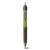 Golyóstoll, 0,4 mm, nyomógombos, zöld-barna tolltest, környezetbarát, UNI