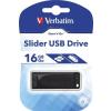Verbatim Pendrive, 16GB, USB 2.0, VERBATIM Slider, fekete (UV16GSF)