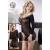 Mandy Mystery lingerie Hosszúujjú áttetsző harisnyaruha  - fekete