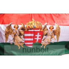 Nemzeti színű új címeres barna angyalos zászló 75x120 cm. A Horthy időszak hivatalos zászlója 1919-1938-ig.
