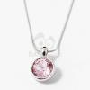 Ezüst bevonatos kerek köves medál nyaklánccal rózsaszín jwr-1284