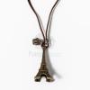 Eiffel torony medál barna bőrszíjjal - antikolt jwr-1098
