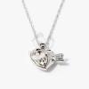Nyíllal átlőtt szív medálos nyaklánc fehér kővel jwr-1312