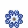 Open bútorgomb 5cm kerámia virág kék