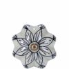 Open bútorgomb 5cm kerámia virág s.kék