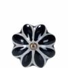 Open bútorgomb 5cm kerámia virág fekete