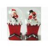 Rázógömb, karácsonyi figurákkal, kéményben (1db)