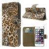 utángyártott Tok álló, bőr (FLIP, mágneses, oldalra nyíló, bankkártya tartó, asztali tartó funkció) LEOPÁRDMINTA [Apple iPhone 5, iPhone 5S]