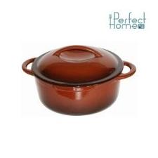 Perfect home 10564 zománcozott öntöttvas lábas 26 cm, 4,2l barna edény