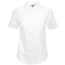 Fruit of the Loom FoL Ladies Oxford Short Sleeve Shirt, fehér