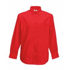 Fruit of the Loom FoL Long Sleeve Poplin Shirt, piros