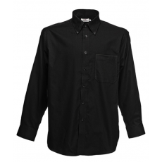 Fruit of the Loom FoL Long Sleeve Oxford Shirt, fekete