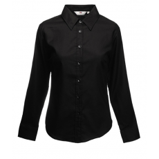 Fruit of the Loom FoL Lady-Fit Long Sleeve Oxford Shirt fekete