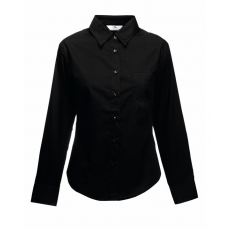 Fruit of the Loom FoL Lady-Fit Long Sleeve Poplin Shirt, fekete