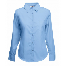 Fruit of the Loom FoL Lady-Fit Long Sleeve Poplin Shirt, középkék