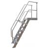 KRAUSE - Ipari lépcső dobogóval 600mm 45° bordázott alu fokkal 4 fokos