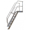 KRAUSE - Ipari lépcső dobogóval 800mm 60° bordázott alu fokkal 8 fokos