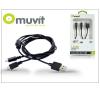 USB USB - 2 micro USB adat- és töltőkábel - Muvit Y Cable - fekete mobiltelefon kellék