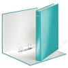 Leitz Gyűrűs könyv, 2 gyűrű, D alakú, 40 mm, A4 Maxi, karton, lakkfényű, LEITZ Wow, jégkék (E42410051)