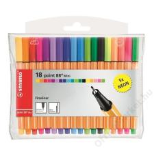 STABILO Tűfilc készlet, 0,4 mm, STABILO Point 88 Mini Neon, 18 különböző szín (TST688182) filctoll, marker