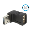 DELOCK Easy-USB -> USB A M/F adapter fel/le 90°-os fekete 65521
