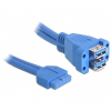 DELOCK Cable USB 3.0 pin header female > 2 x USB 3.0-A female stacked 82942