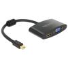 DELOCK Displayport mini -> HDMI VGA M/F adapter 0.15m fekete 65553
