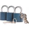 Extol Biztonsági réz lakat klt., 38mm, 3 db lakat+6 db kulcs, univerzális kulcsok (Lakat)