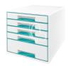 """Leitz Irattároló, műanyag, 5 fiókos, LEITZ """"Wow Cube"""", fehér/jégkék irattároló szekrény"""