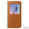 Samsung S6 ablakos tok szövet,narancs