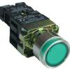 Tracon Electric Tokozott világító nyomógomb, fémalap, előtét, zöld, glim - 1xNO, 3A/230V AC, 130V, IP44 NYGBW3371ZT - Tracon