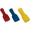 Tracon Electric Teljes szigetelésű rátolható csatl. hüvely, sárgaréz, piros - 1,5mm2, 6,3x0,8mm PTCSH6 - Tracon