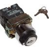 Tracon Electric Tokozott kulcsos kapcsoló, fémalap, közép KI, hátomállású - 2xNO, 3A/230V AC, IP44 NYBG53KKT - Tracon
