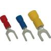 Tracon Electric Szigetelt villás saru, ónozott elektrolitréz, kék - 2,5mm2, M3, (d1=2,3mm, d2=3,6mm), PVC KV3 - Tracon