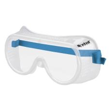 Extol Védőszemüveg, víztiszta, sík polikarbonát lencse, gumis fejpánt, CE (Védőszemüveg)