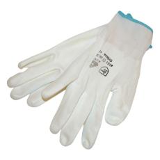 Kötött kesztyű fehér nylon, BUNTING, XL-es méret, 10` poliuretánba mártott (Kesztyű)