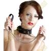 Bad Kitty Szilikon nyakörv fém pórázzal - fekete
