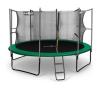 KLARFIT Rocketstart 366, 366 cm trambulin, belső biztonsági háló, széles létra, zöld trambulin szett