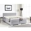 Beliani Boxspring ágy - 180x200 cm - Kárpitozott ágy - Táskarugós matrac - PRESIDENT világosszürke