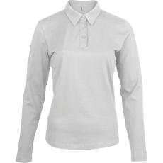 KARIBAN hosszúujjú női galléros póló, fehér (Kariban hosszúujjú női galléros póló, fehér)