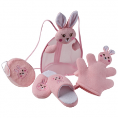 Állatos hátizsák gyerekeknek, pink (Gyerek hátizsák, tartalmaz egy mosókesztyût, egy szivacsot és egy)