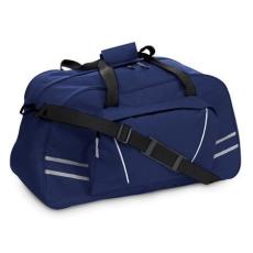 Sport-, utazótáska fényvisszaverõ csíkkal, kék (Sport- és utazótáska nagy elsõ zsebbel, fényvisszaverõ)