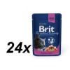 Brit Premium Cat Pouches Macskaeledel, lazac és pisztráng, 24x100g