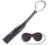 Fekete mesterséges bőr korbács és szemkötő korbács, paskoló
