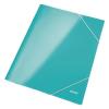 GUMIS mappa, 15 mm, karton, A4, lakkfényű, LEITZ Wow, jégkék