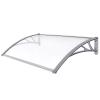 TECTAK Esővédő tető polikarbonát 150x100 szürke keret áttetsző fehér tető például bejárati ajtó vagy ablakok főlé