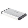 Gembird HDD/SSD enclosure Gembird 2.5\'\' SATA - USB 3.0  Aluminium  Ezüst