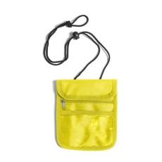 Nyakbaakasztható utazótárca, sárga (Utazótárca nyakpánttal, tépőzáras lezárással, egy cipzáras zsebbel)